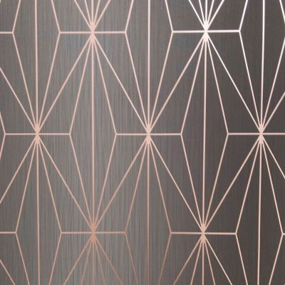 Kayla Metallic Geometric Wallpaper Charcoal / Rose Gold Muriva 703015