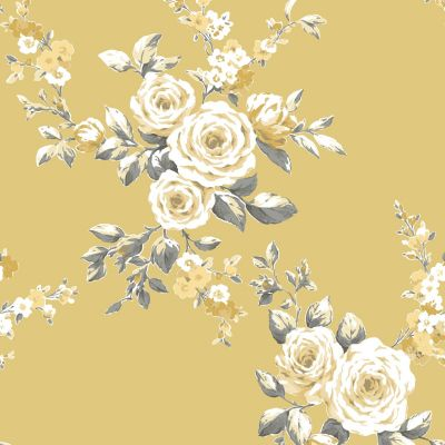 Catherine Lansfield Canterbury Floral Wallpaper Ochre Muriva 165501
