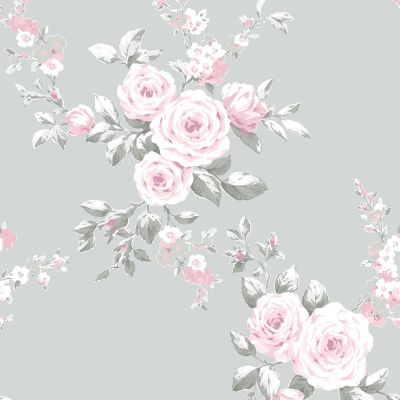 therine Lansfield Canterbury Floral Wallpaper Grey / Pink Muriva 165503