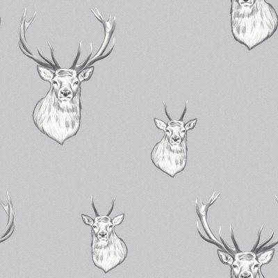 Catherine Lansfield Stag Wallpaper Light Grey Muriva 165511