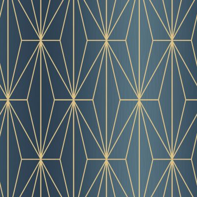 Kayla Metallic Geometric Wallpaper Blue / Bronze Muriva 703016