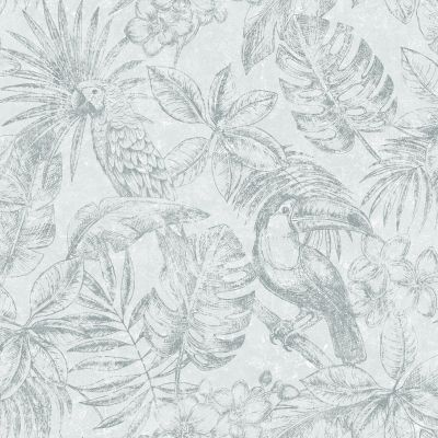 Sankuru Metallic Tropical Wallpaper Grey / Silver Muriva 164501