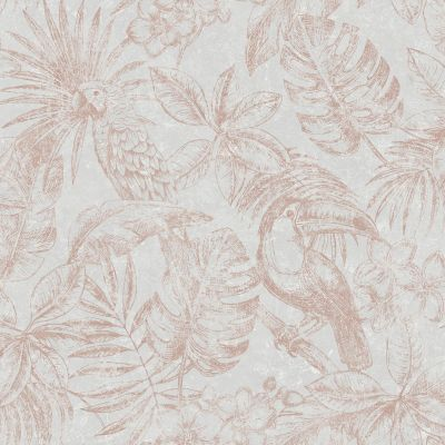 Sankuru Metallic Tropical Wallpaper Grey / Rose Gold Muriva 164502