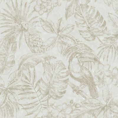 Sankuru Metallic Tropical Wallpaper Grey / Gold Muriva 164503