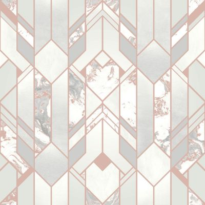 Elixir Geometric Marble Wallpaper Rose Gold Muriva 167502