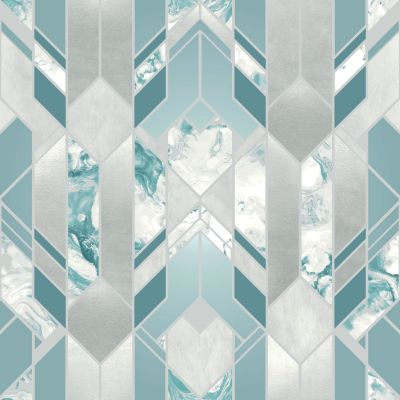 Elixir Geometric Marble Wallpaper Teal Muriva 167503