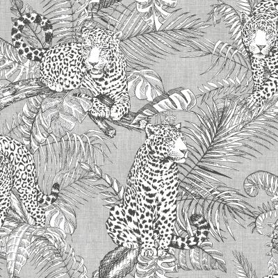 Mamboa Leopard Wallpaper Grey Muriva 173521