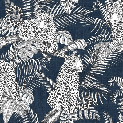 Mamboa Leopard Wallpaper Blue Muriva 173523