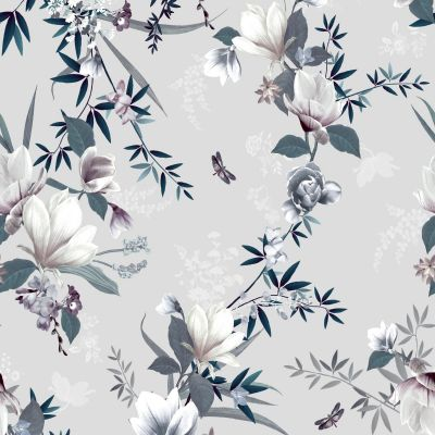 Lipsy Lotus Wallpaper Grey Muriva 144052