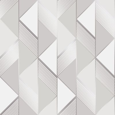Lipsy Geometric Wallpaper Grey / Silver Muriva 144900