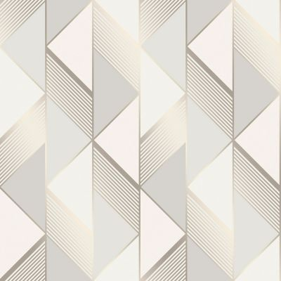 Lipsy Geometric Wallpaper Grey / Gold Muriva 144901