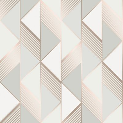 Lipsy Geometric Wallpaper Grey / Rose Gold Muriva 144902