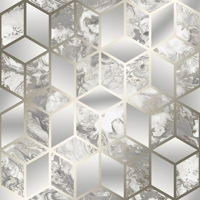 Elixir Cube Marble Wallpaper Grey / Gold Muriva 166513