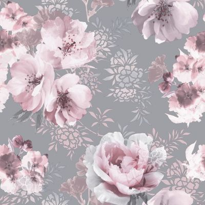 Catherine Lansfield Dramatic Floral Wallpaper Grey / Pink 165550