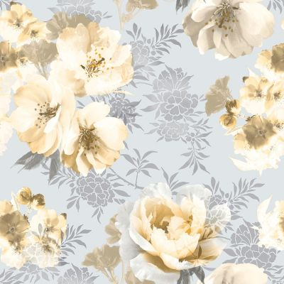 Catherine Lansfield Dramatic Floral Wallpaper Ochre Muriva 165551