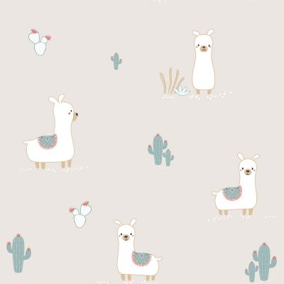 Little Explorers Happy Llamas Wallpaper Taupe Galerie ND21127