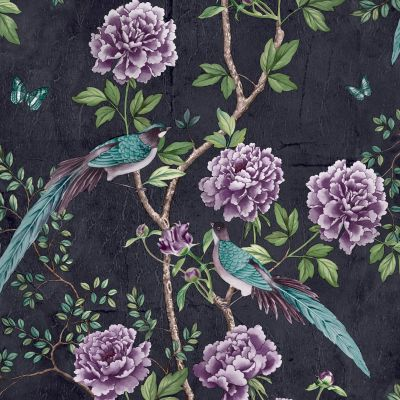 Paloma Home Vintage Chinoiserie Wallpaper Midnight 921503