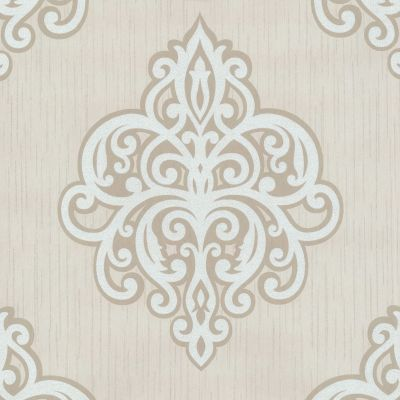 Opal Damask Glitter Wallpaper Beige and White P+S 02491-60