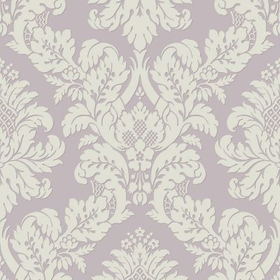 Glitter Damask Wallpaper Lilac / White Pear Tree UK10481