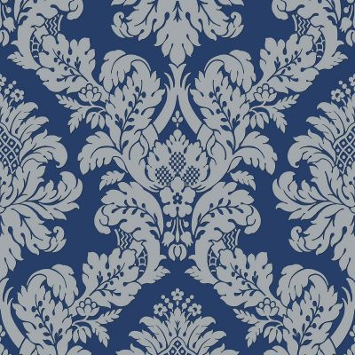 Glitter Damask Wallpaper Teal / White Pear Tree UK10482