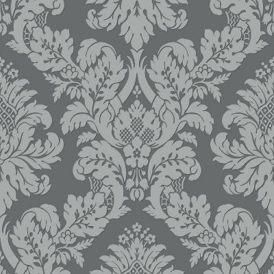 Glitter Damask Wallpaper Blue / Silver Pear Tree UK10457
