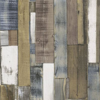 Rasch Wood Board Panel Wallpaper - Natural and Blue 203707