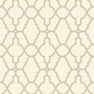 Casablanca Trellis Fretwork Wallpaper - Cream and Gold - Rasch 309317