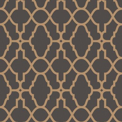 Casablanca Trellis Fretwork Wallpaper - Black and Copper- Rasch 309331