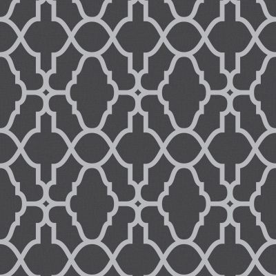 Casablanca Trellis Fretwork Wallpaper - Black and Silver- Rasch 309348