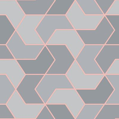 Portfolio Hex Geo Wallpaper Pink / Rose Gold Rasch 270310