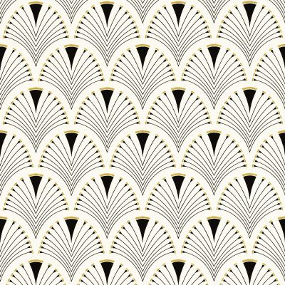 Modern Art Art Deco Fan Wallpaper Black / Gold Rasch 433210