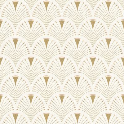 Modern Art Art Deco Fan Wallpaper Gold / Pink Rasch 433210