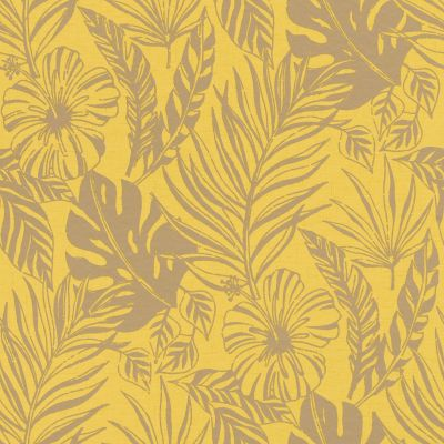 Portfolio Tropical Leaf Wallpaper Yellow / Gold Rasch 215526