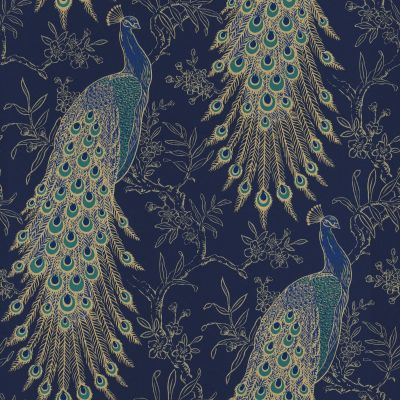 Portfolio Peacock Wallpaper Navy / Gold Rasch 215700