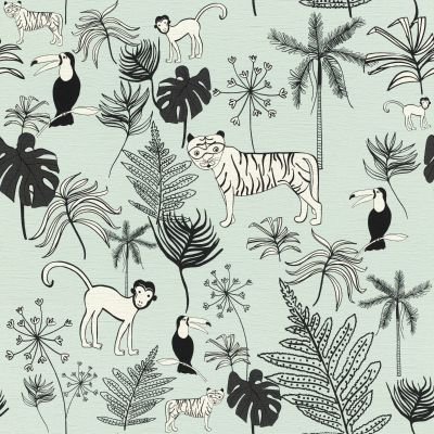 Bambino XVIII Jungle Animals Wallpaper Blue Rasch 531800