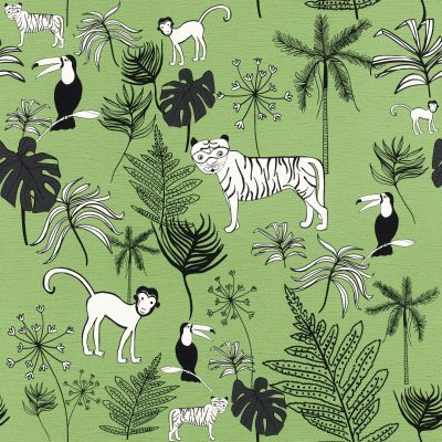 Bambino XVIII Jungle Animals Wallpaper Green Rasch 531817