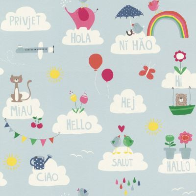 Bambino XVIII Hello Clouds Wallpaper Blue Rasch 249439