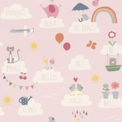 Bambino XVIII Hello Clouds Wallpaper Pink Rasch 249453
