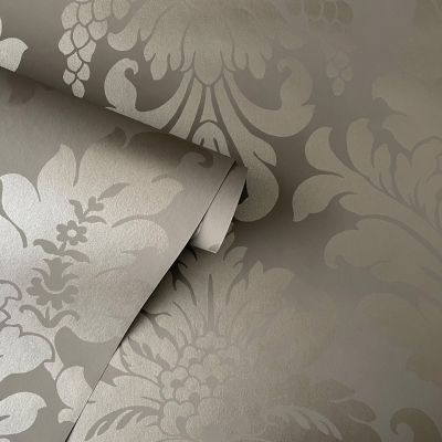 Vanity Fair Damask Wallpaper Taupe Grey Rasch 525434