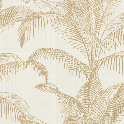 Pandore Palm Leaves Wallpaper White / Gold Rasch 406818