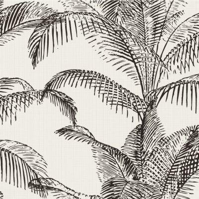 Pandore Palm Leaves Wallpaper White / Black Rasch 406801
