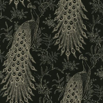 Pandore Peacock Wallpaper Black / Gold Rasch 405811