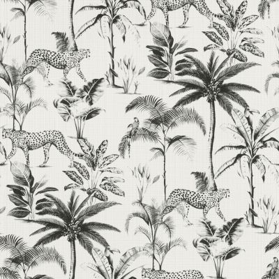 Savannah Cheetah Wallpaper White / Black Rasch 409017