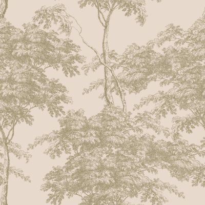 Eden Forest Trees Wallpaper Pink / Gold Rasch 214314