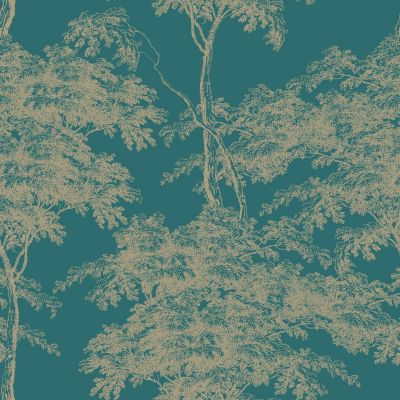 Eden Forest Trees Wallpaper Teal / Gold Rasch 214321