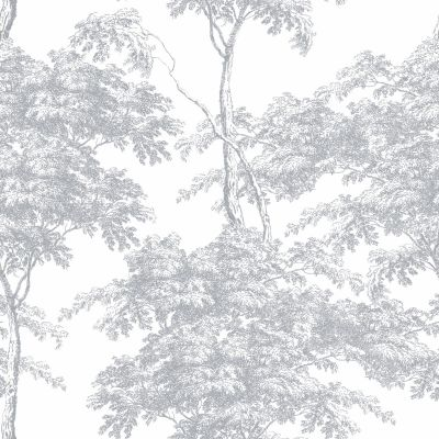 Eden Forest Trees Wallpaper White / Silver Rasch 214307