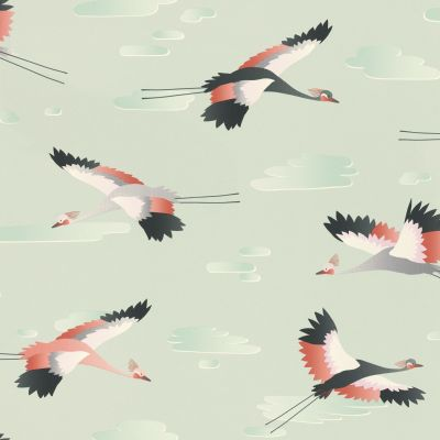 Cranes Wallpaper Green Rasch 818116
