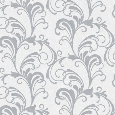 Valentina Scroll Damask Wallpaper Silver / White Rasch 301823