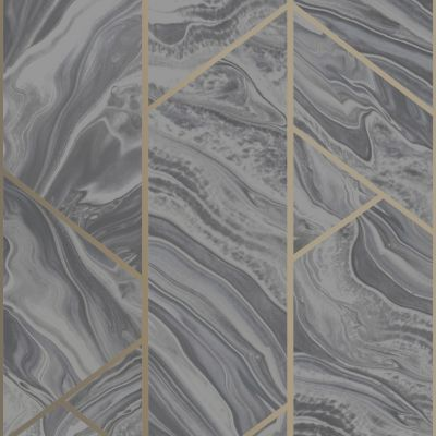 Marble Geometric Glitter Wallpaper Charcoal Rasch 310955