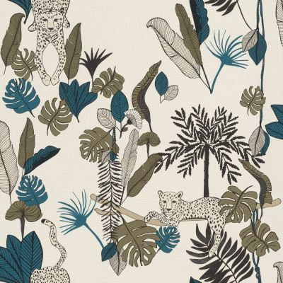Club Botanique Leopard Wallpaper Teal Rasch 540345